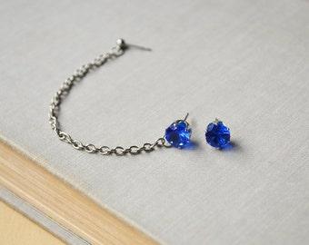 Sapphire Blue Crystal Double Pierce Cartilage Earrings (Pair)