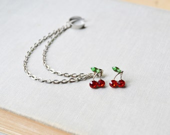 Red Cherry Silver Double Chain Ear Cuff Earrings (Pair)