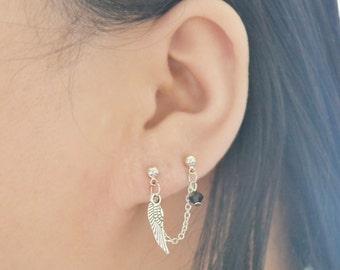 Silver Wing Double Lobe Piercing Ear Climber Earring (Single-Side)