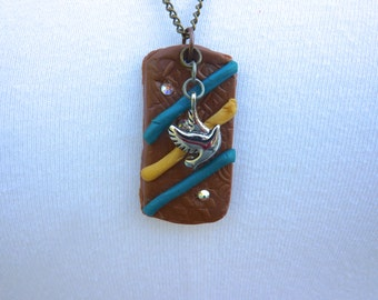 Bird in Flight Necklace, Gold Teal Chocolate, Polymer Necklace, Art Deco Accessories, Abstract Pendant, Swarovski Crystal Pendant, Unique