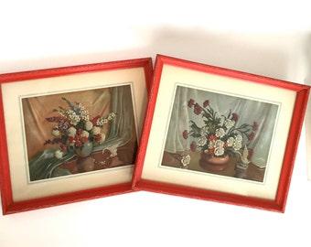 Vintage Still Life Framed Floral Prints Red and Turquoise Decor