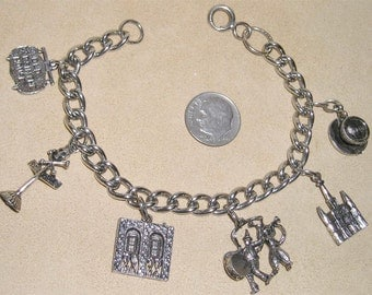 Vintage Old Absinthe House Charm Bracelet New Orleans Silver Tone 1950's Jewelry 7067
