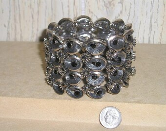 Vintage Large Cuff Bracelet With Black Rhinestones 1980's Jewelry H52