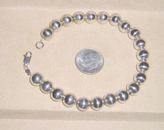 Vintage Sterling Silver Beaded Bracelet On Sterling Silver Chain 1970's Signed Jewelry 2232