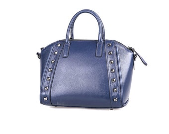 Blue genuine leather bowling bag with rivets / blue leather work bag / blue leather studded bag