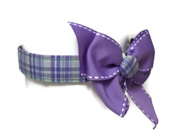 Lavender Plaid Button Bow Dog Collar size Small