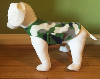 XS Extra Small or Medium Dog Coat & Extra Small Jacket, Gray, White, Navy Blue, and Green Camo Fleece with Green Fleece Lining