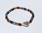 Rhinestone Heart Rainbow Beaded Bracelet Elastic LGBT Valentines Gift