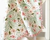 Pom Pom Floral Baby Blanket