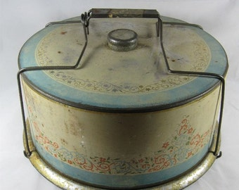 Vintage 1930's Tin Cake Holder Keeper Carrier with Scroll and Flower Design and Wire Closure Flat Handle