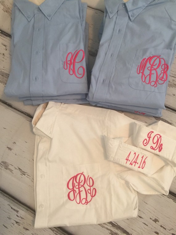 Personalized Ligh Blue Bridesmaids Gifts Oversized Mens Shirts~ Monogrammed Oversized Shirts ~ Monogrammed Bridal Party Shirts ~