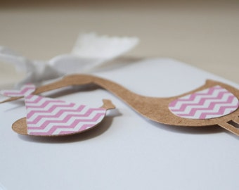 Girl Baby Shower Invitations Stork Pink Chevron Thank You Notes