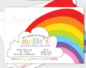 Retro Rainbow Birthday Invitation, Somewhere Over the Rainbow Birthday Party Invitation, Taste the Rainbow Party, Rainbow Invite - Printable