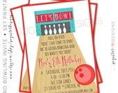 Bowling Party Invitation, Retro Bowling Party Invitation, Bowling Birthday Party Invitation - 5x7 PRINTABLE