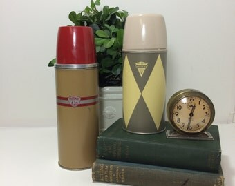 Vintage Thermos Bottle or Holtemp Thermox  Hot and Cold Beverages Vacuum Bottle Made in U.S.A. Collectibles Gold and Red, Yellow and Gray