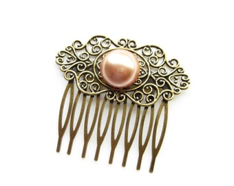 Haarkamm,haircomb,Haar-Accessoire,Hair Accessories, Shabby Chic, Romantic,Braut,bride,Rose Gold