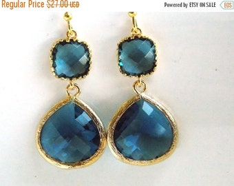 SALE Blue Earrings, Glass Earrings, Dark Blue Earrings, Gold Earrings, Blue Wedding Jewelry, Bridesmaid Earrings, Bridal, Bridesmaid Gifts