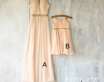 2016 Mix and Match Bridesmaid dress Long, Peach Baby Flower Girl dress, Chiffon Wedding dress, Blush Formal dress floor length(F066A1/FK312)