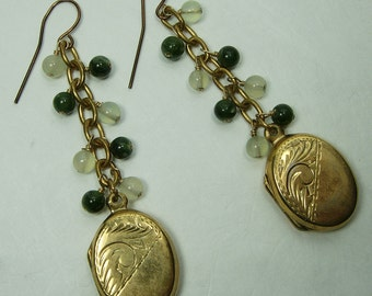 Vintage Nephrite Jade Chalcedony Sterling Silver Earrings Lockets Victorian Style Pierced
