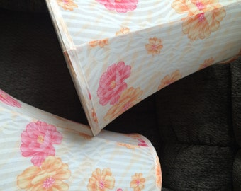 A pair of pink and yellow Floral shabby chic lampshades