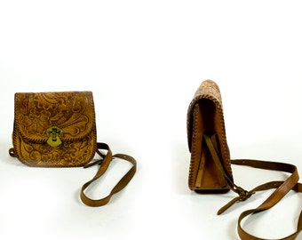 Vintage 1970s British Tan Tooled Carved Leather Floral Small Crossbody Purse Bag