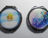Mirror/Compact Double Mirror/Your Choice/Angel/Flowers/Victorian Silhouette/Can Be Personalized