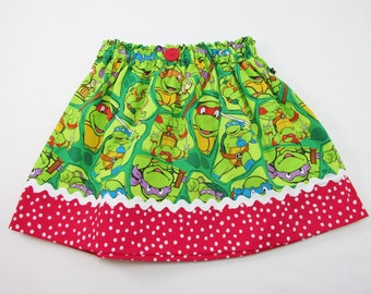 Skirt made with Teenage Mutant Ninja Turtle Fabric - Choice of Fabric - Infant and Girls Sizes up to Ladies Size 16 - TMNT Birthday Party