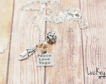 Peace Love Yoga Necklace, Yoga Necklace, Yoga Jewelry, Yoga Teacher Necklace, Yoga Charm Necklace, Feather Necklace, Chakra Charm Necklace