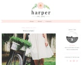 Harper - Pink  Blog Design - Mobile Responsive Blog - Premade Blogger Template - Blush Pink Watercolor Blog - Watercolor Flower Design