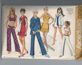 Uncut Vintage 1970 Wardrobe Pattern - Midriff Hip-Huggers Bellbottoms Mini Dress Bust 32.5 Simplicity 8820