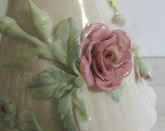 Beleek Pitcher, Unusual Applied Flower Pitcher, Made in Ireland, Decorative Beleek Collectible, Irish Decor