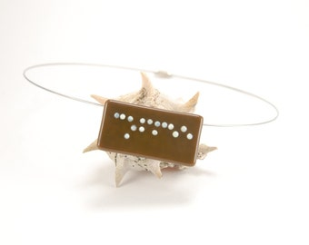 Braille COFFEE chocolate brown fused glass pendant necklace, customizable