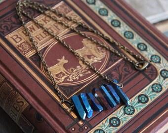 Titanium Aura Crystal Point Necklace
