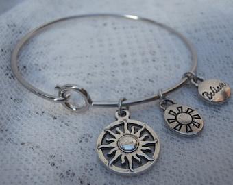 Charm bracelet, silver charm bracelet, sunburst charm bracelet, sun charm. bracelet, silver sun bracelet, bangle silver bracelet, bracelet