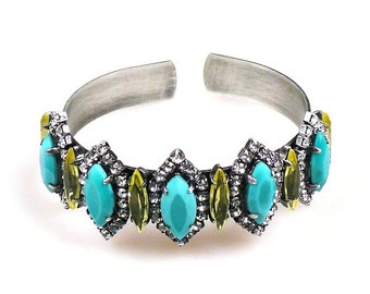 Luxury Swarovski Navette Cuff - CUSTOM COLORS