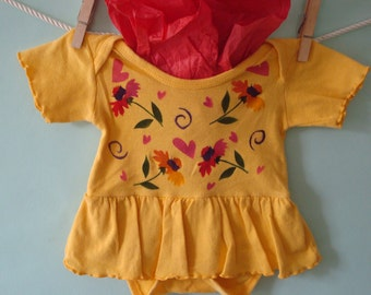 Baby Girl Dress, Yellow Daisy Newborn Dress, Unique & Hand Painted Flowers
