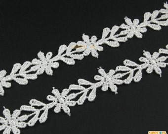 Terylene Lace Trim White Floral Lace Ribbon Flower Lace Trim 1.5cm Width -- 3 Yards (LACE425)