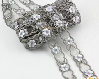 Cotton Lace Trim Gray Tulle Lace Trim Floral Lace Ribbon 1.5cm Width -- 5 Yards (LACE266)