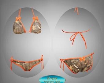 Hunter camo print with orange trim with bow loop tie scrunch butt bikini bottom with loop tie triangle top made by Foxy Fashion Lab YY