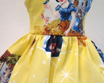 Snow White and the Seven Dwarfs on Yellow Sleeveless Dress for your American Girl Doll B