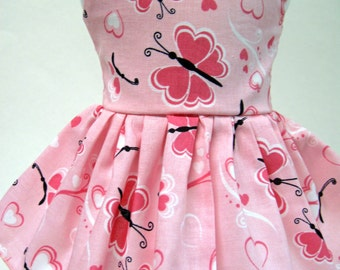Butterfly Hearts, Valentine's Day Sleeveless Dress for Your American Girl Doll