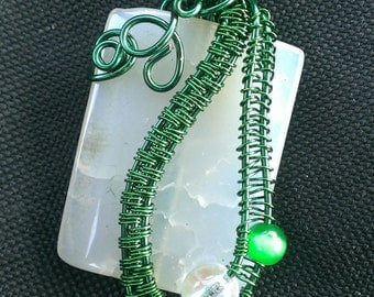 Wire wrapped white agate semi precious stone