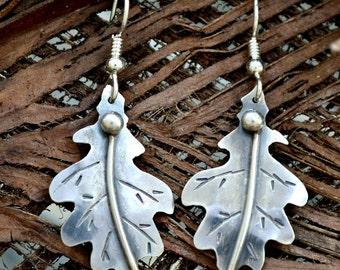 Sterling silver oak leaf earrings.