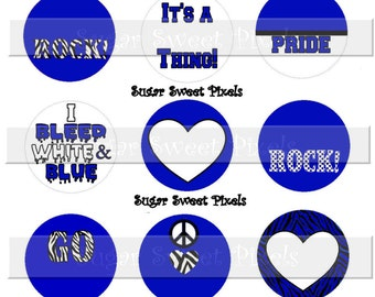 INSTANT DOWNLOAD Blank Blue White School  Team Mascot  1 inch Circle Bottlecap Images 4x6 sheet