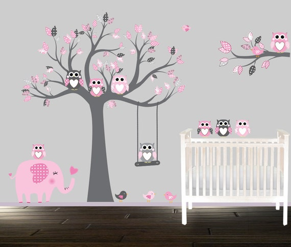 Stickers muraux de hibou baguette tattoo childrens vinyle for Stickers arbre chambre bebe