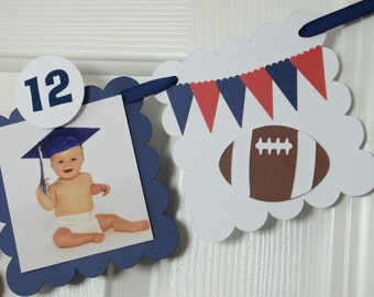 Football 12 Month Photo Banner, First Year Photo Banner, First Year Banner, Red, and Navy Blue, 5 x 5 Scallops,Football Theme, c-1306