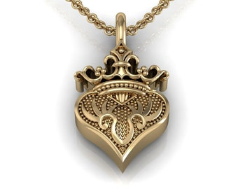 Crown Heart Charm Necklace in 14k White Yellow Rose Gold, personalization option | made to order for you within 5-7 business days