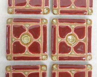 Handmade Mosaic Ceramic Tiles BURGUNDY Dogwood Pattern Grouted set of 6 - Mosaic Tile Pieces - Craft Tiles