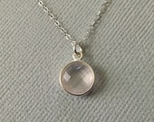Rose Quartz Necklace in Sterling Silver -Pink Gem Necklace in Silver