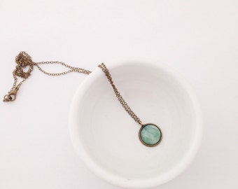 "Amazonite ""Stone of Hope"" Necklace.  Dainty Brass Natural Gemstone Necklace."